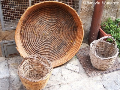 baskets on a front porch