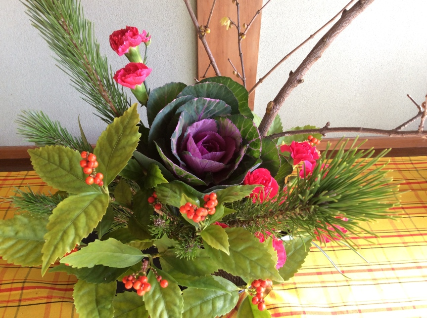 Ikebana, Japanese flower arrangement, for new year (by Rotwein)