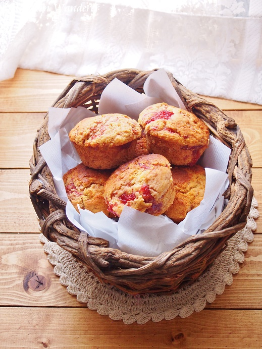 Strawberry & Cream Polenta Muffins